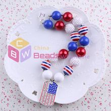 3pcs/lot National Day style of dog tag pendant child girl chunky beads necklace kids bubblegum necklace jewelry in wholesale(China (Mainland))