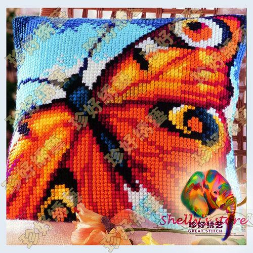 Yarn embroidery cross stitch kit cushion pillowcase set