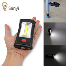 Sanyi Hot Sale 2-Mode COB LED Flashlight Magnetic Working Folding Hook Light Lamp Torch Linternas Lanterna Lamp USE 3x AAA(China (Mainland))