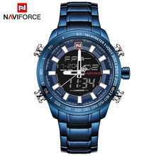 NAVIFORCE Marque De Luxe Hommes Sport Militaire Montres hommes Horloge À Quartz Numérique En Acier Étanche Montre-Bracelet relogio masculino(China)
