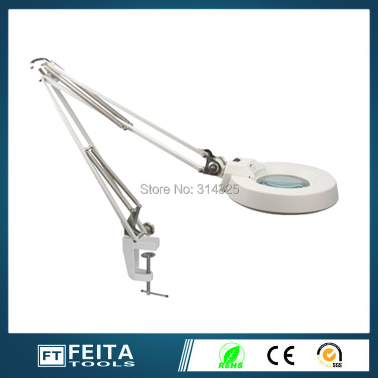 Aliexpress wholesale5X 10x FT-86A Table Type with Magnifying Table Lamp industrial Magnifier with Lamps ordinary glass lens(China (Mainland))