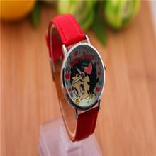 2014 nueva moda Casual linda chica PU reloj de cuero relojes de cuarzo relojes de pulsera horas para para niños envío gratis