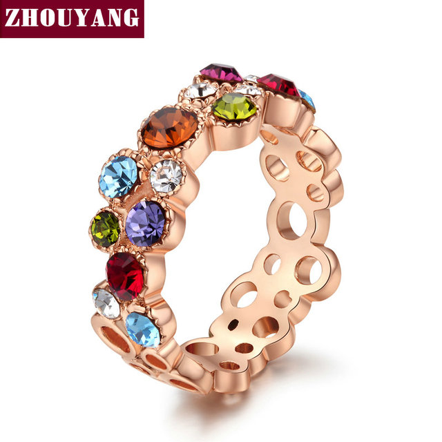 Mmulticolour CZ Crystal Sweet Summer Flower  Rose Gold Plated Ring Party Wedding Gift Full Sizes Wholesale Top Quality ZYR028