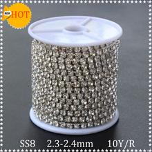 Продвижение горный хрусталь отделка 10 ярды / lot однорядные Ss8 серебристый металл коготь прозрачного хрусталя камни стразы цепь чашки для одежды