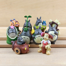 10PCS Anime My Neighbor Totoro Resin Figure Keychain Toys Collection Model Kids Toy Brinquedos Juguetes Kid Toy Garden Deco