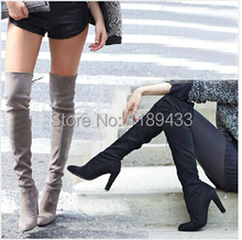 2015 autumn /winter hottest sexy designer boots women suede leather slim fit over the knee boots female stretch motorcycle booty(China (Mainland))