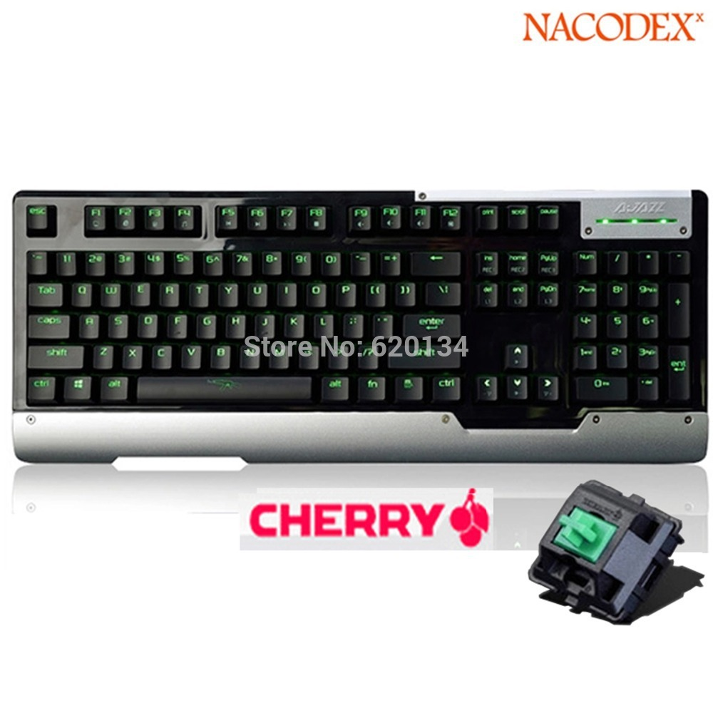 Top Level A-jazz [Smart LED] Backlit Mechanical Gaming Keyboard with Cherry Green Mx Switches - Green(China (Mainland))