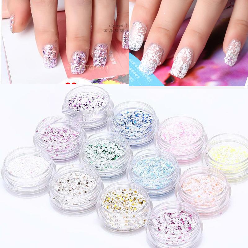 Free Shipping 12 Pot 3D Nail Art Decoration Nail Glitter Snow Powder Tool Manicure For Acrylic Nail Art UV Gel(China (Mainland))
