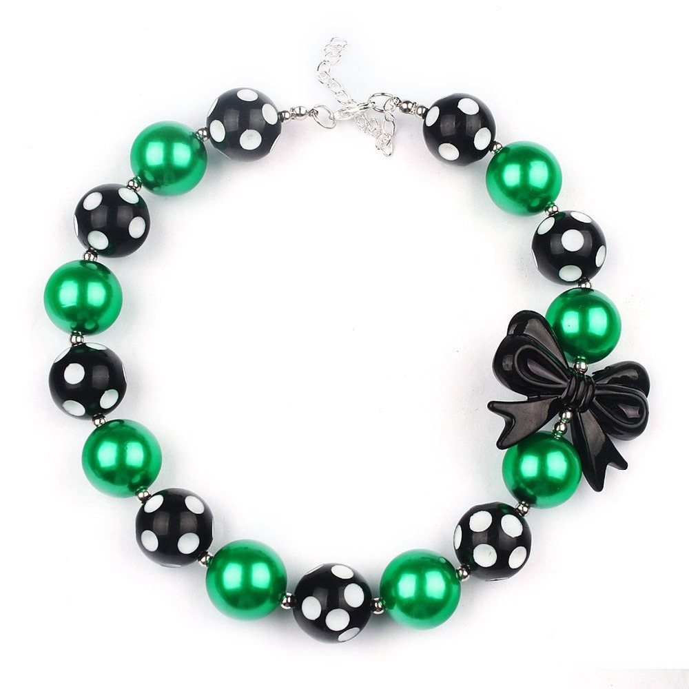 Kids Bubble Necklace Chunky Green Black Beads Butterfly Girls Fashion Jewelry Supplies Cheap Sale Baby Popular Cute Necklaces(China (Mainland))