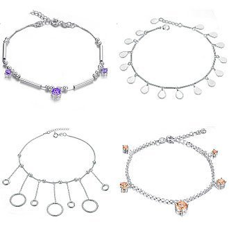 OPK JEWELRY 10pcs/lot MIXED ORDER Silver Plated Anklet Charm Crystal Stone Ankle Jewelry Bracelet Free Shipping