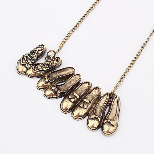 2015 Europe and America Fashion Vintage Punk Personality Shoes Shape Pendant Necklace Jewelry For Women Cheap