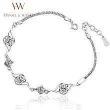 Hansel & Wang 2016 Fashion Eye Shape Zircon Silver Plated Bracelets Bangles Women Wedding Engagement Jewelry DIY 2BS07 - SEAWANG store