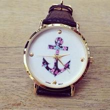 2016 Hot Sale Women's Ladies Vintage Flower Watch Anchor PU Leather Quartz Watches Black Good-looking JUN 2