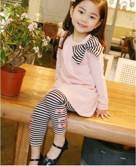 2015 New girls autumn clothing set lovely cat printed children T shirt Leggings baby clothes fashion