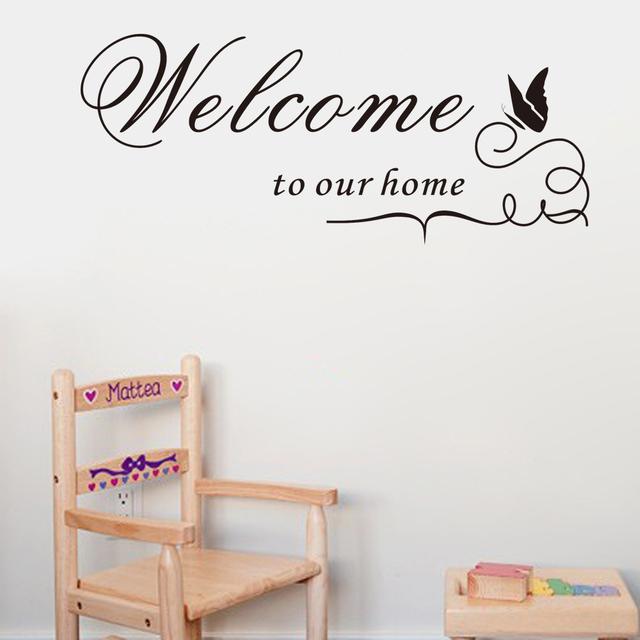 Ebay добро пожаловать наш для дома тиснение винил стена наклейка наклейка украшение котировки для дома декор добро пожаловать в наш для дома ZYVA-8181