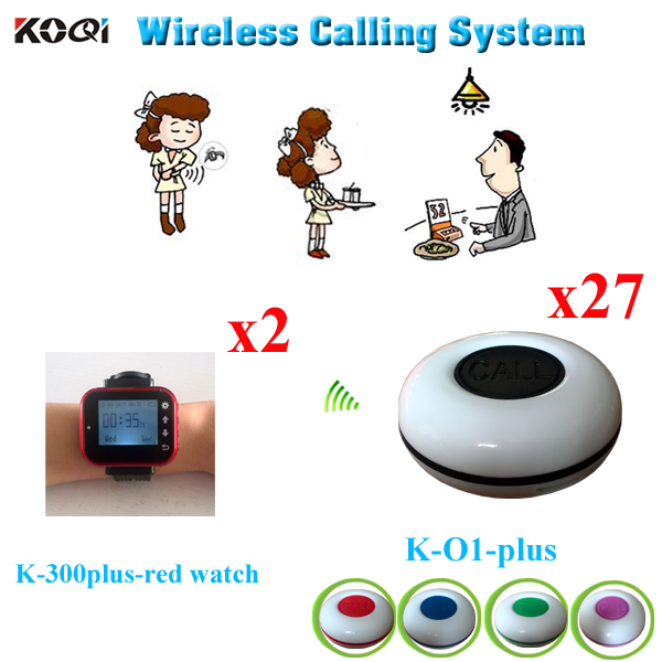 Service Waiter Calling Bell System CE Approved Wireless Bell Paging For Restaurants(2pcs Watch Receiver +27pcs Call Button)(China (Mainland))