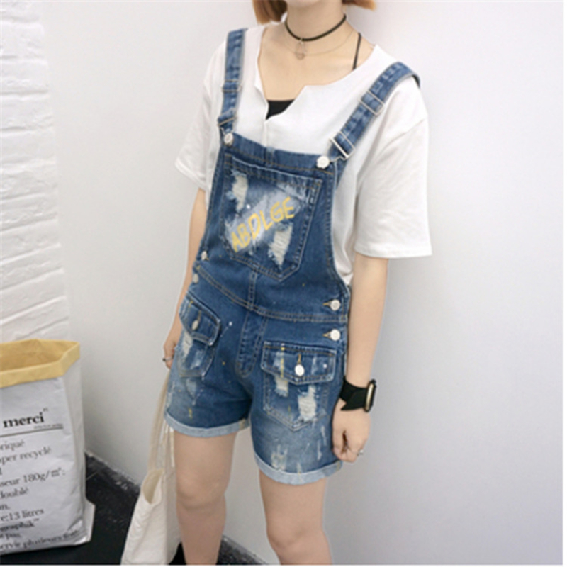 2016 Summer Fashion Denim Overalls Rompers Strap Pockets Holes Overalls Womens Jumpsuit Shorts Jeans Bodysuit Dark Blue(China (Mainland))