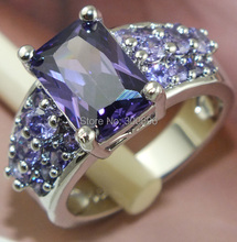 Free Shipping 1 pc 925 Sterling Silver purple CZ Cubic Zirconia Stone woman jewelry wedding ring size 8(China (Mainland))