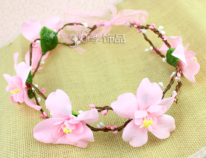 Handmade LILY Flower Crown Festival Headband Wedding Boho Floral Garland Hair Band Accessory(China (Mainland))
