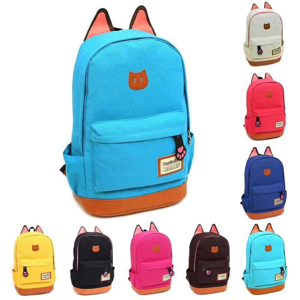 Pu Schoolbag New Cat Ear Canvas Backpack Men and Women Fashion Student Bag School Bag Leisure Bag Cartoon Book Bag(China (Mainland))