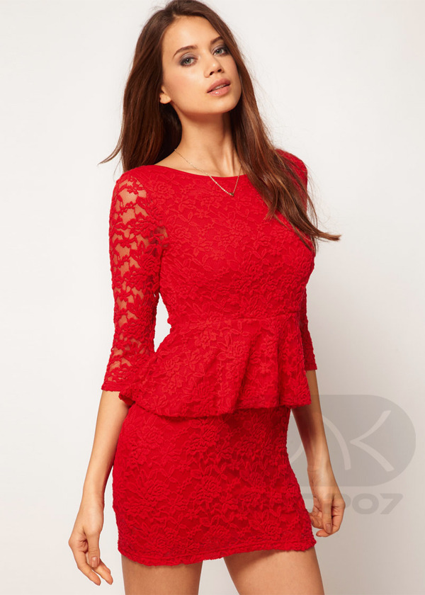 Deep V Back Half Sleeve Lace Dress 2015 Spring Summer O Neck Sexy Dress Red Black S M L XL Free Shipping(China (Mainland))