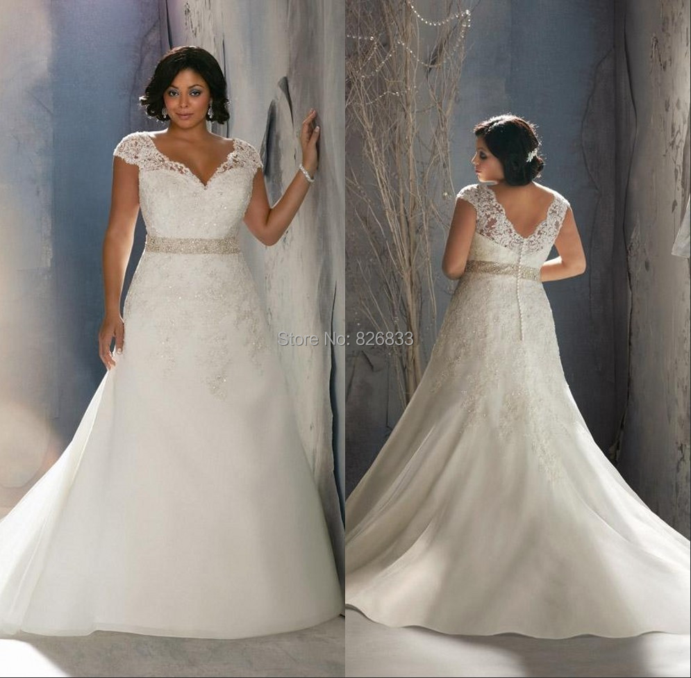 Cap sleeves v neck lace mermaid wedding dress plus size for Plus size mermaid wedding dresses with sleeves