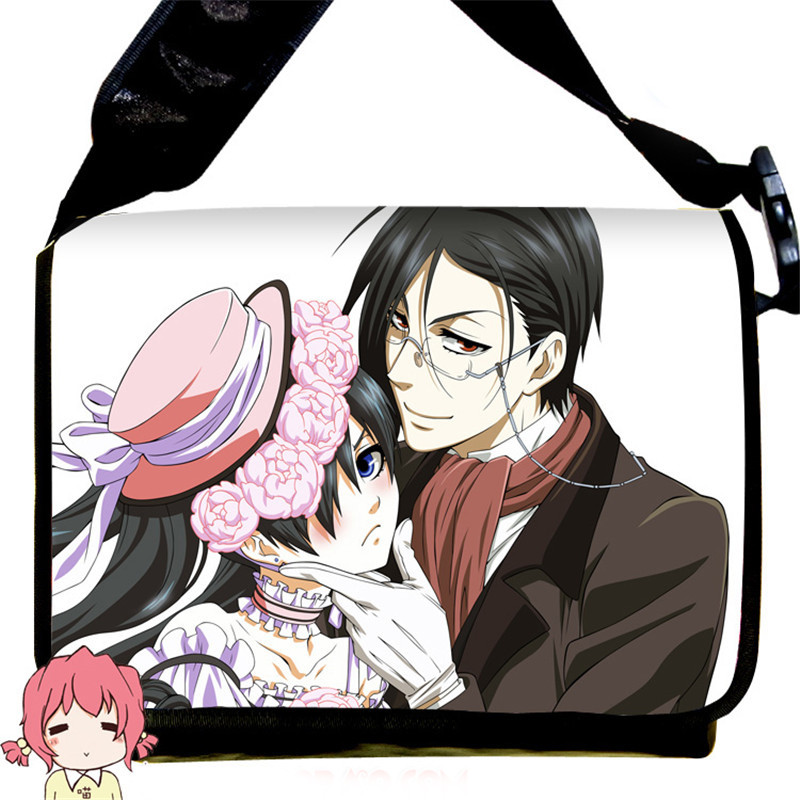 Fashion Black Butler Kuroshitsuji Ciel Phantomhive Cosplay Messenger Bag Anime Sebastian Canvas School Bag Book Shoulder Bags