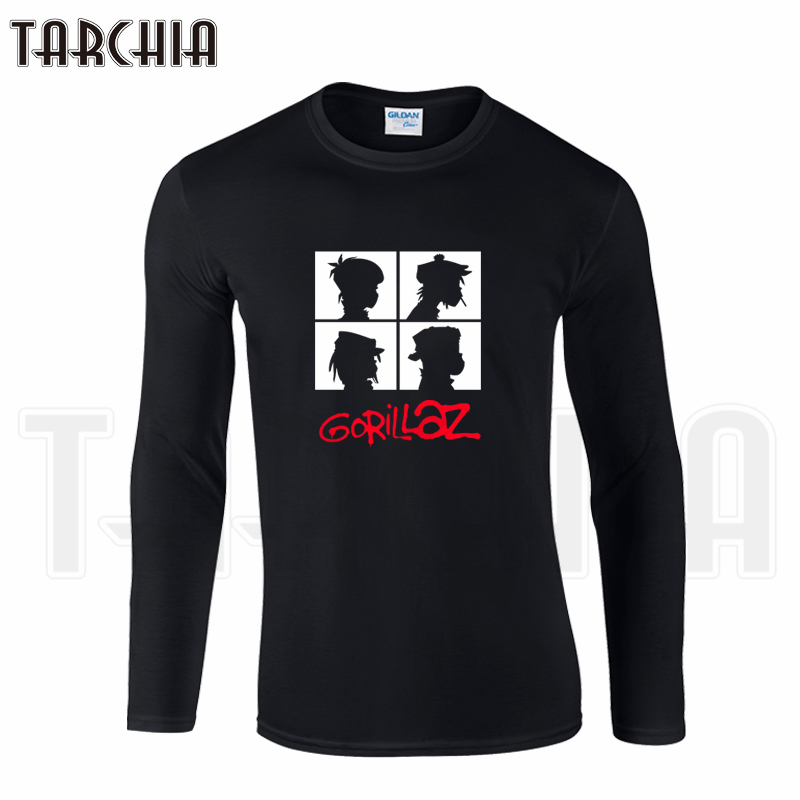 Tarchiia free shipping famous band gorillaz print men 39 s for Cool long sleeve t shirts for men