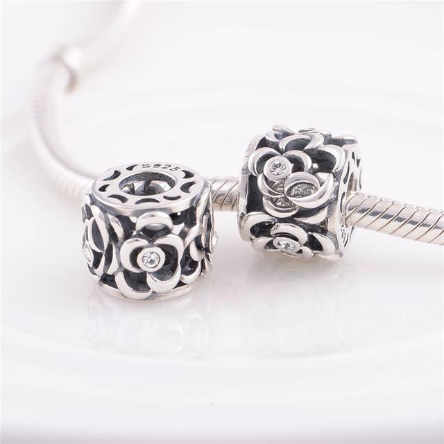 Аутентичные стерлингового серебра 925 бусины европейский шарм цветок дизайн с кристалл DIY ювелирных изделий подходит Chamilia стиль браслет