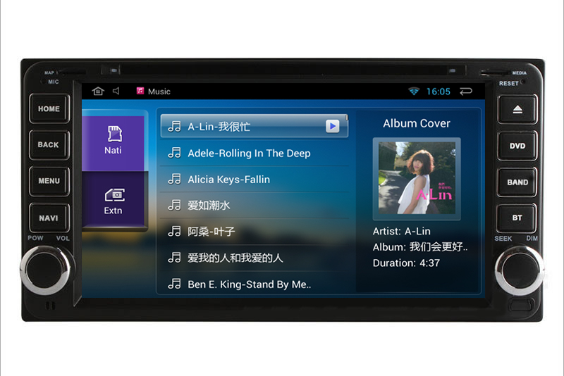 Old Toyota Hilux 2 Din 1G Ram Android 4.4 DVD Player GPS Navigation Wifi 3G Bluetooth Ipod Steering wheel Support DVR OBD 1080P