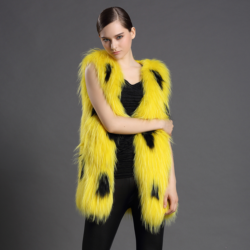 Women's Fur Vests Customiaized 100% Genuine Fur Bright Yellow Gilet Femme Long Fur Vest Winter Female Sleeveless Jacket Woman(China (Mainland))