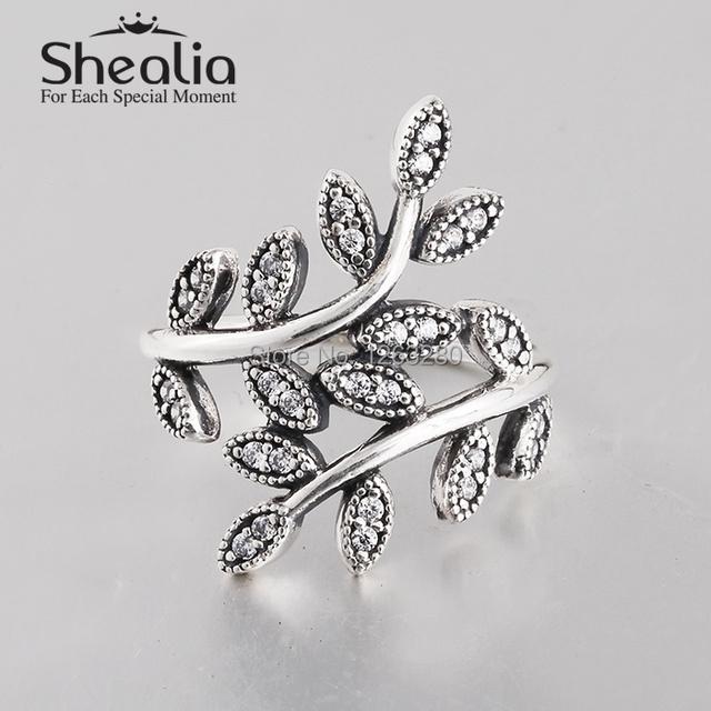 2015 новый вымощает циркон оставляет кольца подлинным стерлингового серебра 925 пробы антикварные кольца для женщин известный бренд ювелирных изделий SH0570