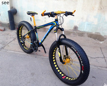 "Aluminum alloy 21/24/27/30 Speed Snow Bike MTB 26"" Fat Bicycle 4.0 wide Tyre Mountain Full suspension cycle Oil Disc Brake(China (Mainland))"