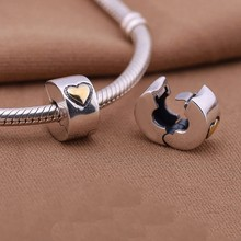 Buy 925 Sterling Silver european stopper charm gold heart Lock Clip original Fits pandora Charms Bracelets diy for $8.79 in AliExpress store