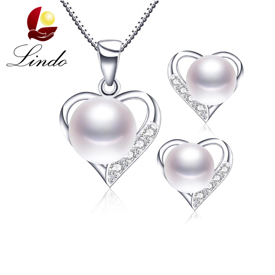 High Quality 100% Natural Freshwater Pearl Silver 925 Jewelry Sets For Women 2017 New Fashion Romantic Heart Pendant+Earrings(China (Mainland))