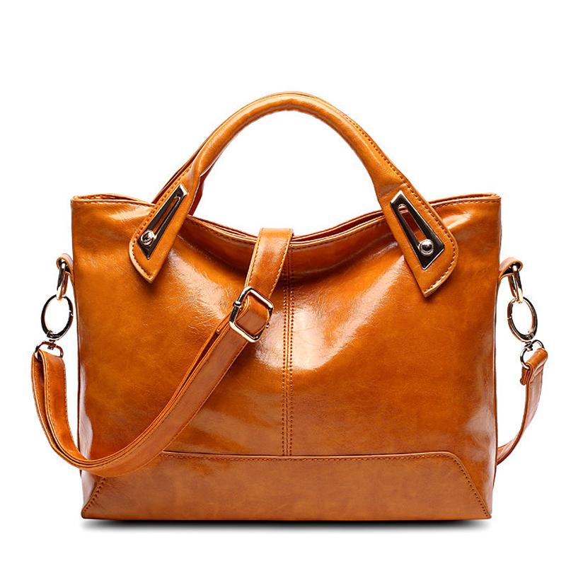 2016 Women Handbags Vintage PU Leather Woman Shoulder Bag Orange Ladies Messenger Bags Lady Briefcase Retro Tote Bag Bolsas(China (Mainland))