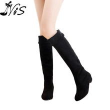 2015 Women Long Flat Boots Over The Knee Boots High Leg Fashion Ladies Low Heels Thigh High Suede Antiskid Shoes for Women