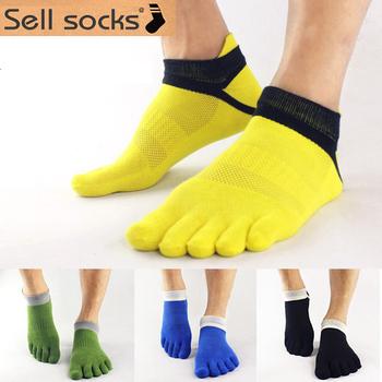 Лето мужские носки хлопок Meias спорт 5 палец носки свободного покроя палец на ноге ...