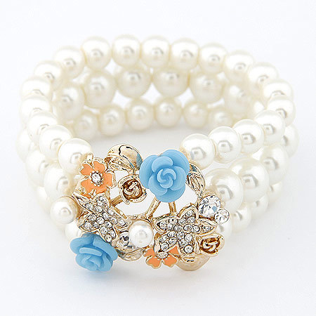 Fashion Pearl Bracelets Jewelry for Women Big Flower Charms Elastic Pulseras Mujer Femininas Bijoux Accessories(China (Mainland))