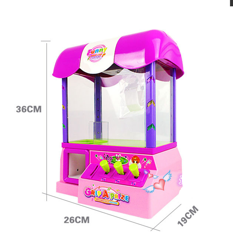 Very Popular Machine Mini Slot Game Candy Grabber Machine Mini Doll Coin Operated Game Machine Caught Doll Toys With Music(China (Mainland))