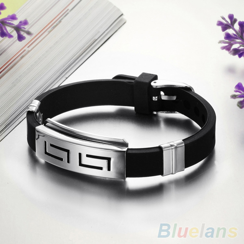 Men s Black Punk Rubber Stainless Steel Wristband Clasp Cuff Bangle Bracelet 2K7N