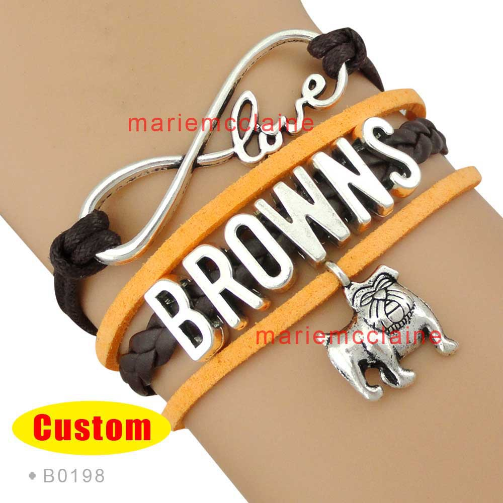 (10 Pieces/Lot) Infinity Love NFL Cleveland Browns Football Team Bracelet Orange Brown White Custom Sports Jewelry Drop Shipping<br><br>Aliexpress