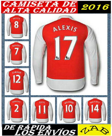 long sleeve new 2015 2016 15 16 cheap most sale Ozil Alexis Welbeck camiseta man soccer jersey football custom name home away(China (Mainland))