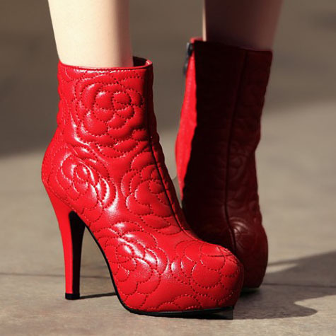 women Brand designer boots Fashion Genuine Leather Women sexy ankle boots motorcycle Knight Boots thin high heels11cm red/black<br><br>Aliexpress