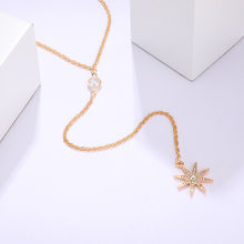 Gold Star Thin Necklace & Pendant Women Charm 3-Layers Beads Rhinestone Simple Sweater Chain Choker Jewelry Gift Beach Necklace(China)