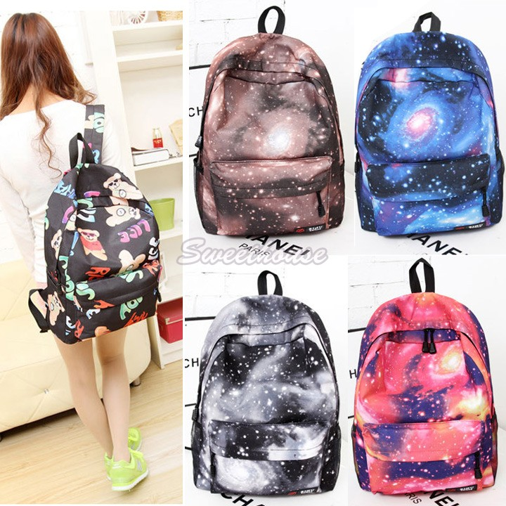 Women Galaxy Stars Universe Space printing backpack School Book Backpacks canvas Stars bag free shipping 50(China (Mainland))