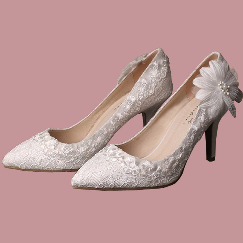 Aliexpress Buy Flower Bridal Shoes White Lace Wedding Shoes Woman Pointed Toe Party Prom