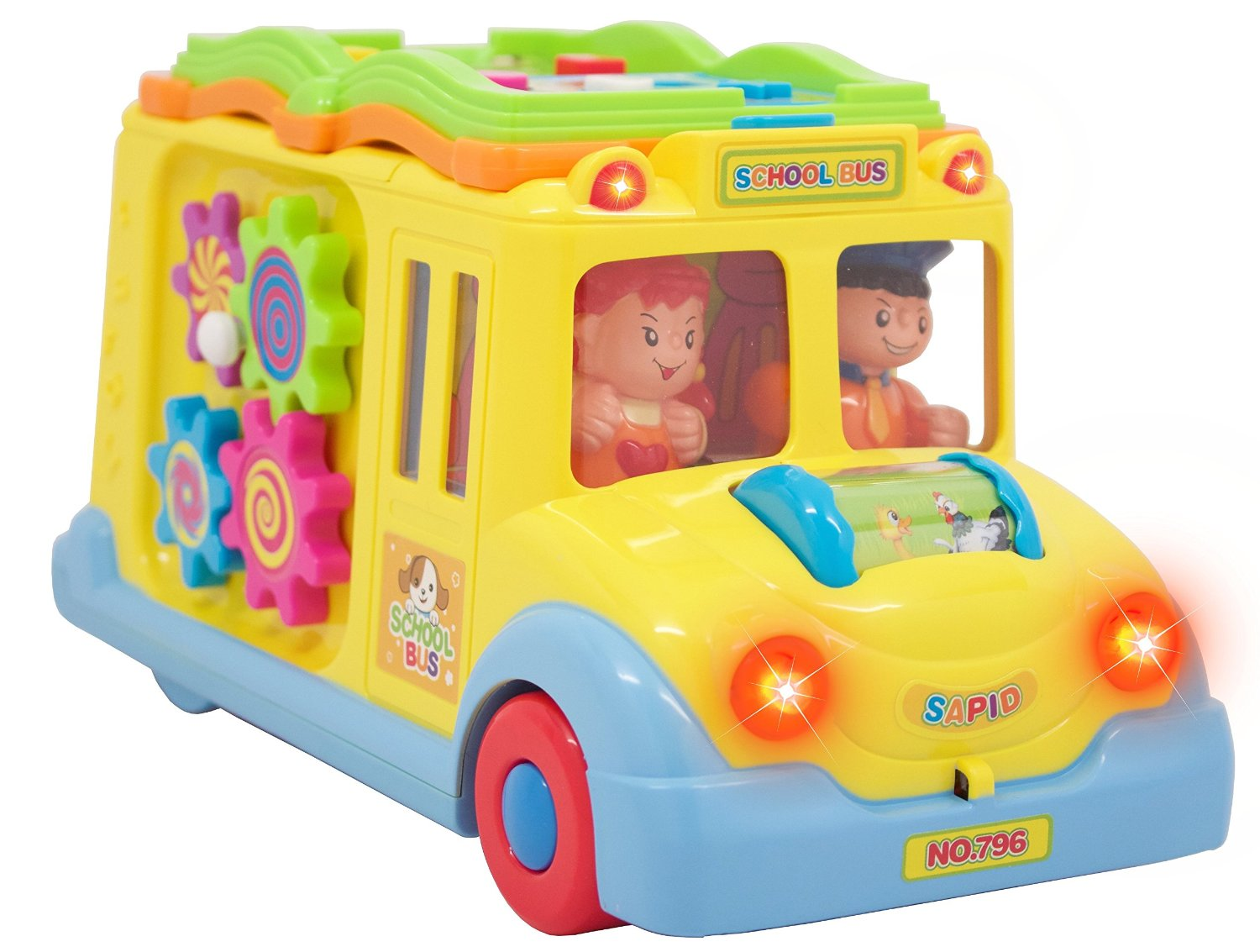 Free Shipping Activity Musical Yellow School Bus Toy with Headlights Moves Lots of Functions & Learning the Animals(China (Mainland))