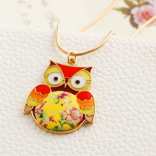 New Design hot Fashion Gold Plated Sweater chain necklace jewelry Colorful Vintage Owl Necklace Pendants for women 2015 PT36(China (Mainland))