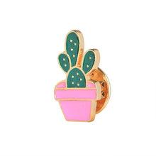 Bella Distintivo Pianta In Vaso Collare Scarpa Labbra Smalto Spille Albero di Cocco Cactus Foglie Decorative Pin Vestiti Del Fumetto Pin Distintivo(China)